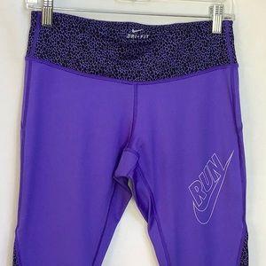 Nike Dri-Fit Run Purple Black Cropped Leggings S